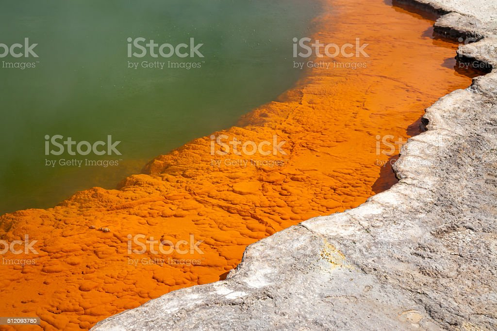 Champagne Pool at Wai-O-Tapu  geothermal area in  New Zealand stock photo