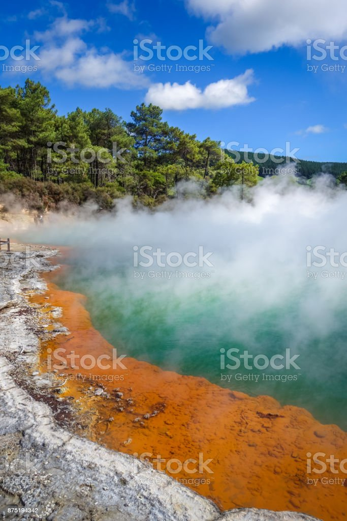 Champagne Pool hot lake in Waiotapu, Rotorua, New Zealand stock photo