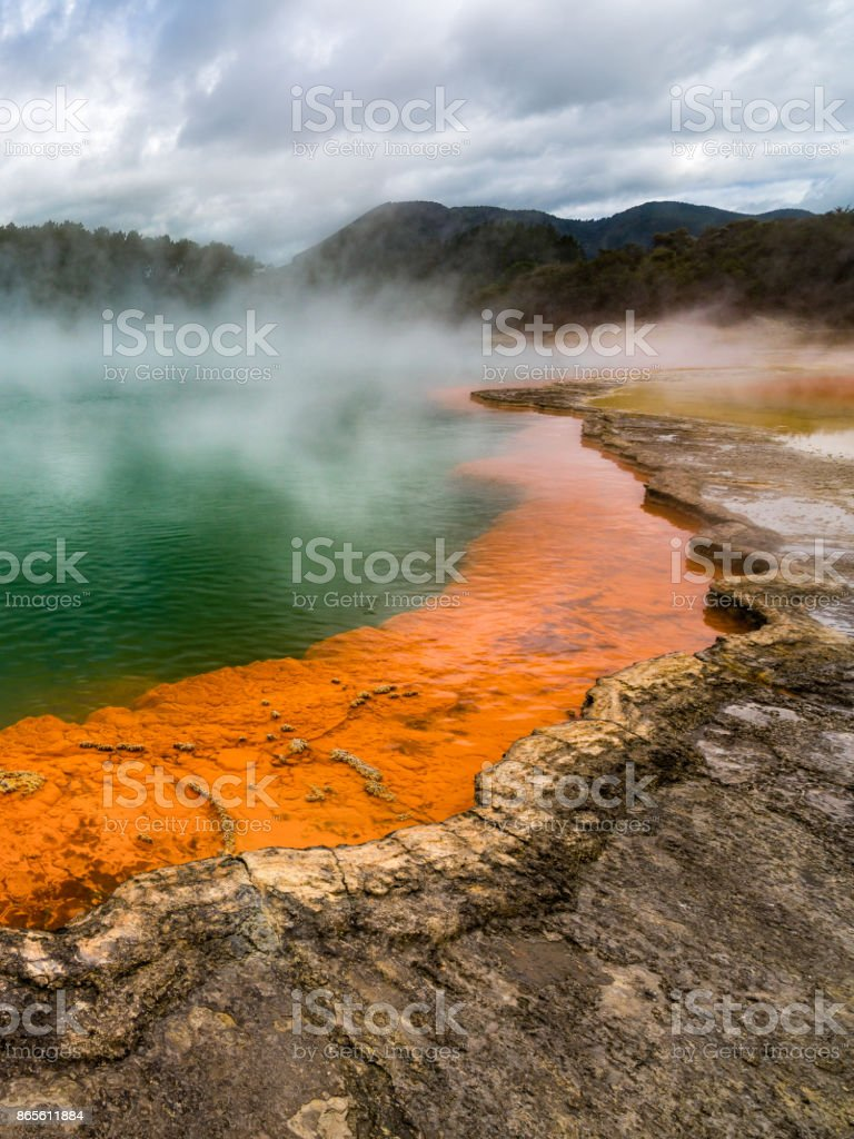 Champagne pool in Rotorua, New Zealand stock photo