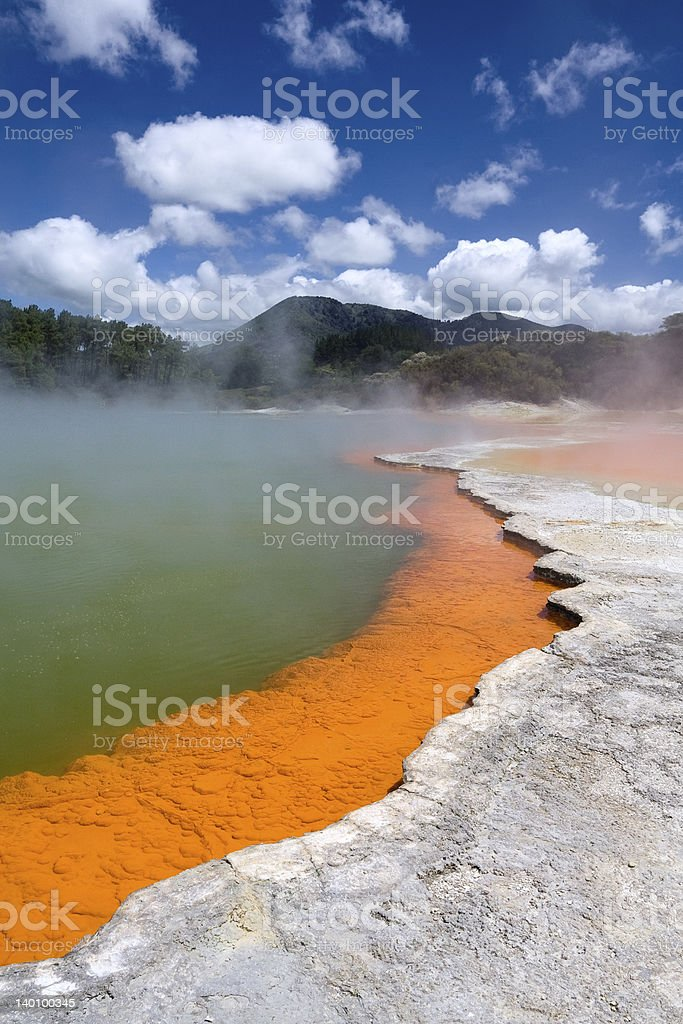 Champagne Pool in Wai-O-Tapu Geothermal Wonderland, Rotorua, New Zealand stock photo