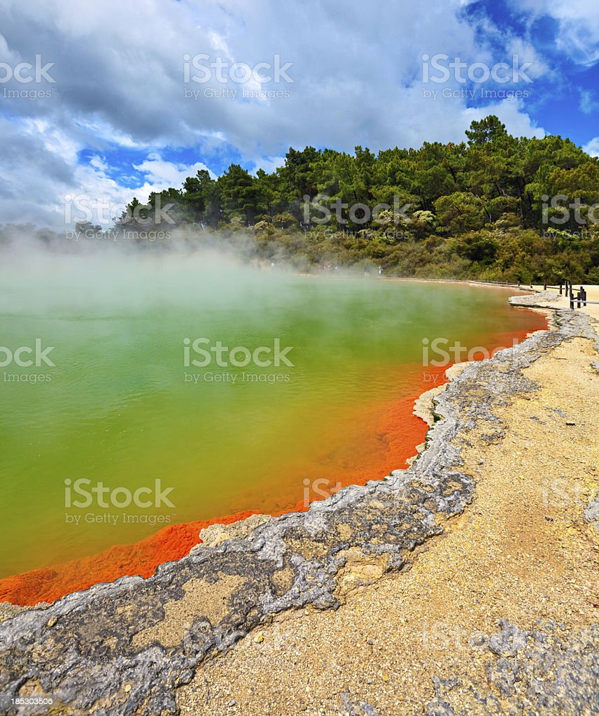Champagne Pool, Rotorua, New Zealand stock photo