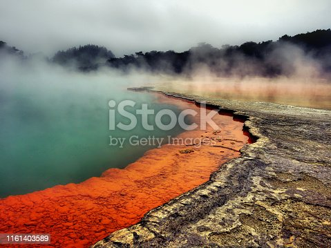 Full frame shot of champagne pool Waiotapu geothermal