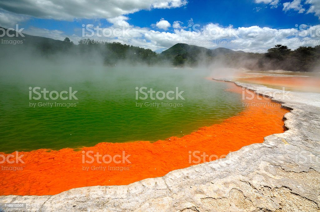 Champagne Pool, Waiotapu Thermal Wonderland, New Zealand royalty-free stock photo