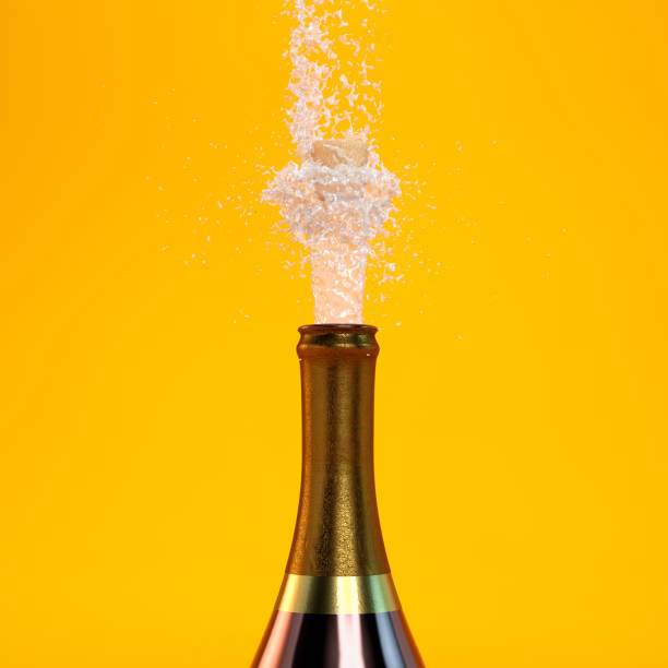 champagne pop splash - bottle soft drink foto e immagini stock