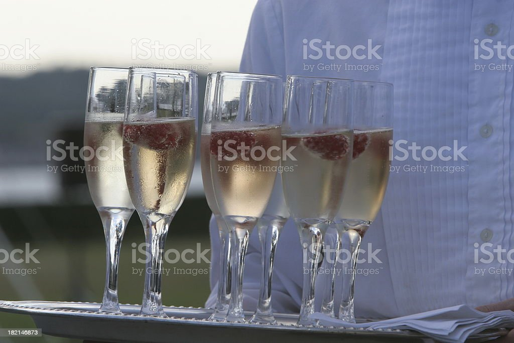 Champagne & Raspberries royalty-free stock photo