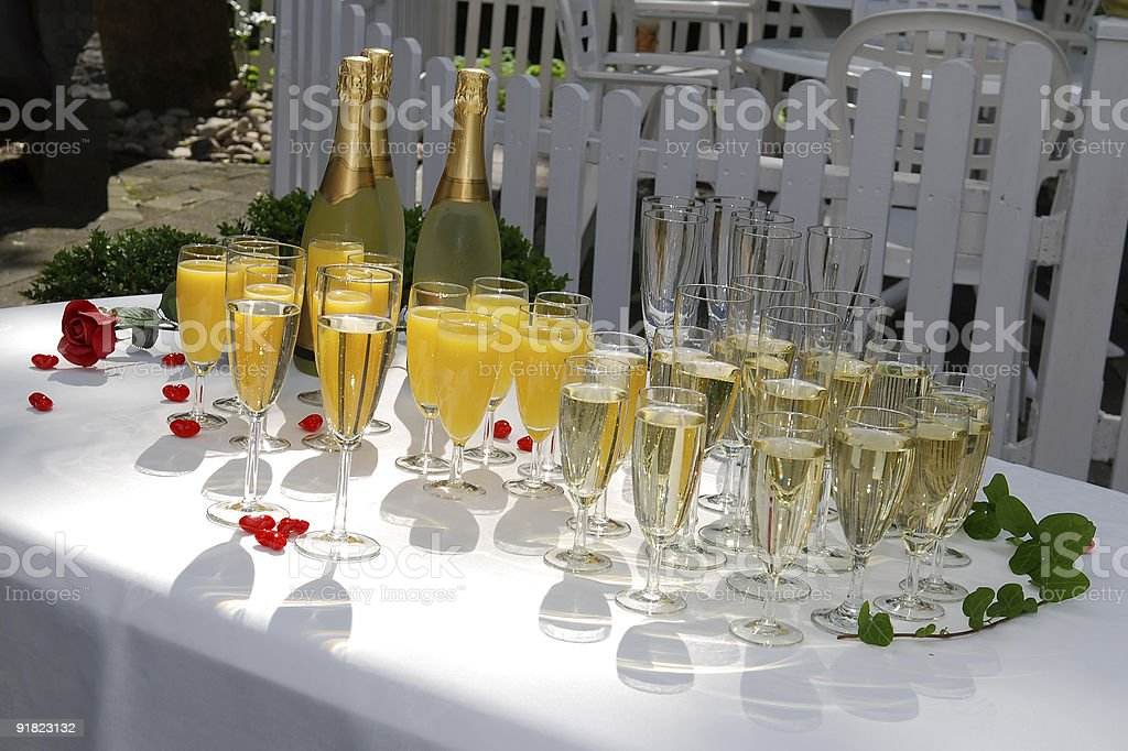Champagne reception at a wedding celebration stock photo