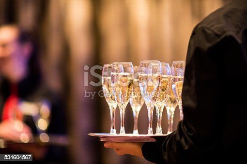 Wedding reception drinks served by a waiter