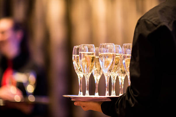 champagne reception - serving size stock photos and pictures