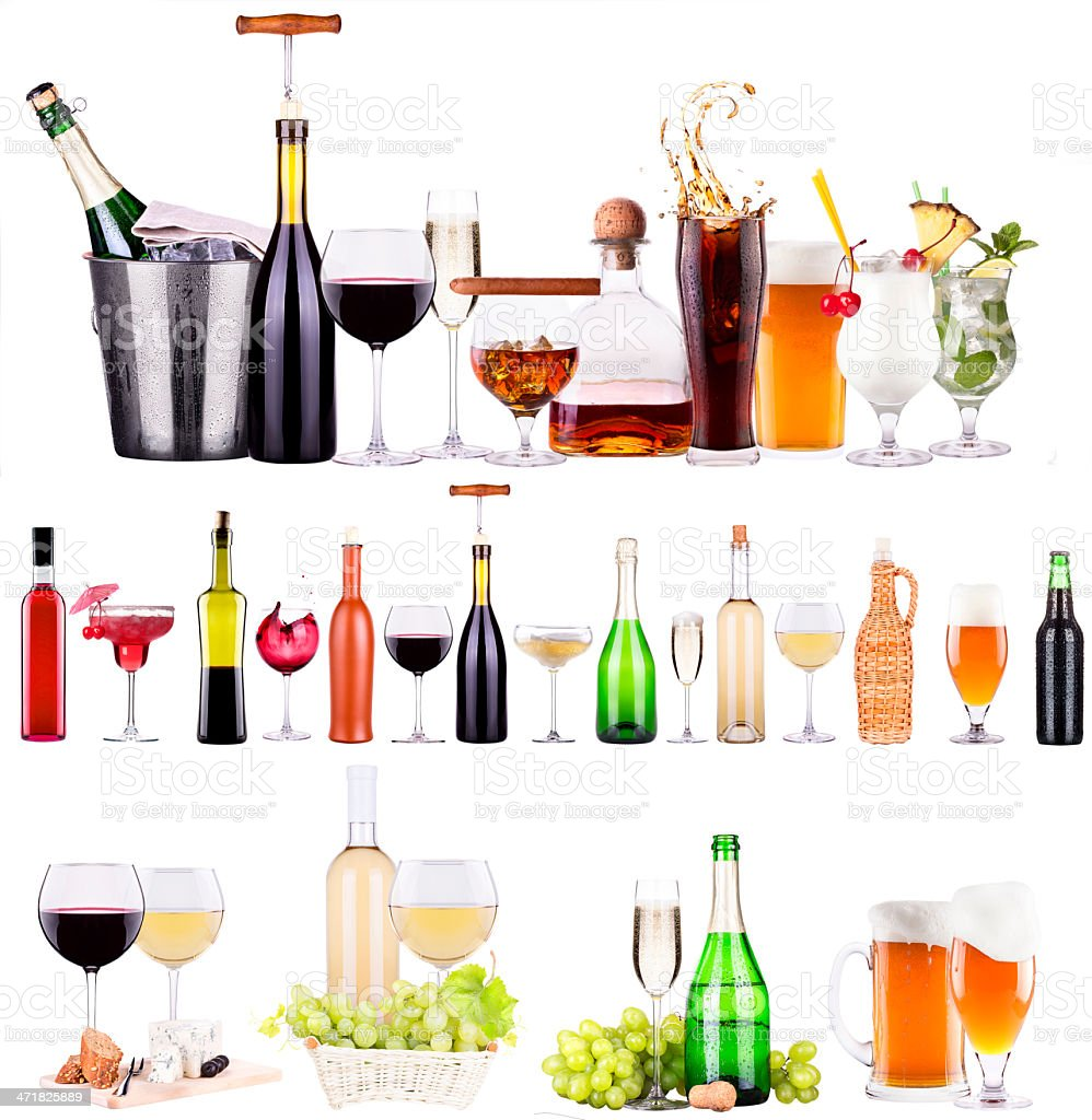 champagne, red and white wine,beer,cola,juice royalty-free stock photo