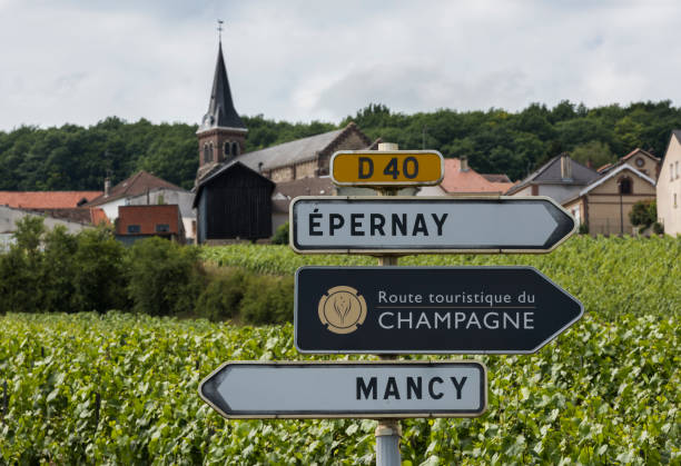 Route Touristique de Champagne Epernay: Sign of the Route Touristique du Champagne with in the background vineyards of the Champagne district Vallee de Marne, France. epernay stock pictures, royalty-free photos & images