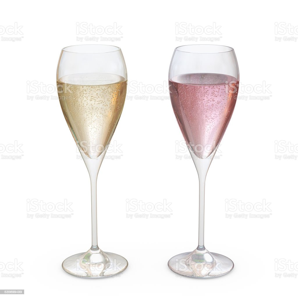 Champagne Tulip Glasses set with liquid, clipping path included stock photo
