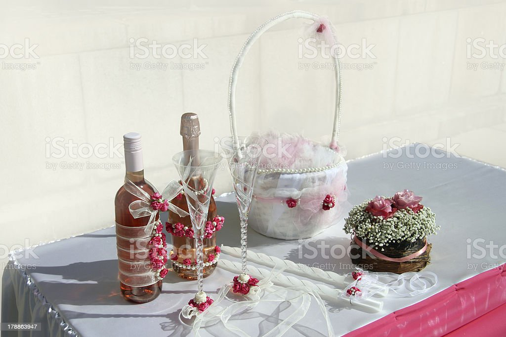 champagne wedding glasses and candles on table royalty-free stock photo