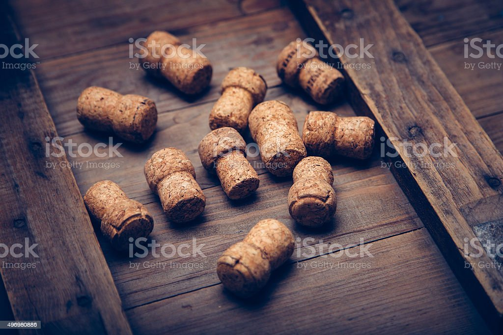 Champagne wine corks texture background. stock photo