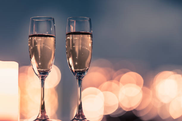 Champagne with a city lights. stock photo
