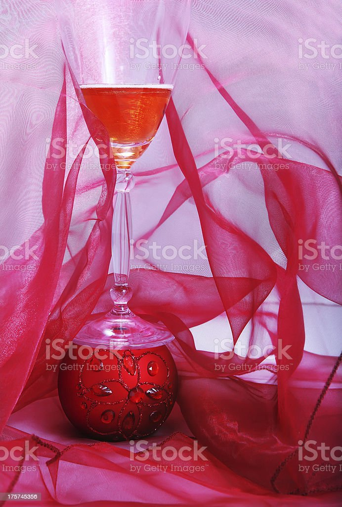 Champagne with decoration royalty-free stock photo