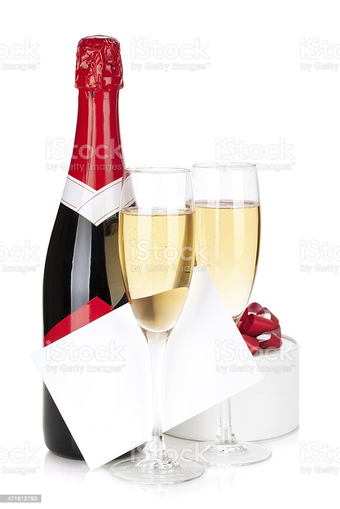 Champagne with gift box and empty card royalty-free stock photo