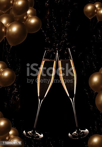 Sparkling champagne with golden balloons on night sky for a background