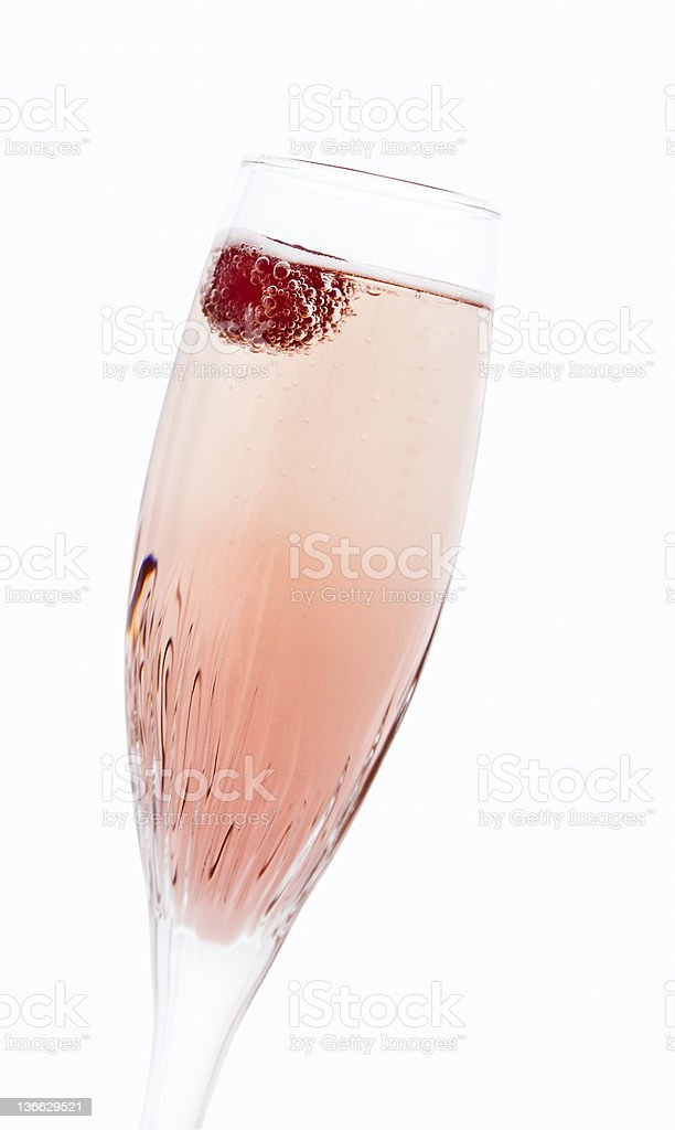 Champagne with raspberry stock photo