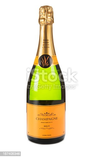Champagne on white