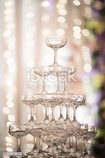 Champaign glass tower in wedding reception