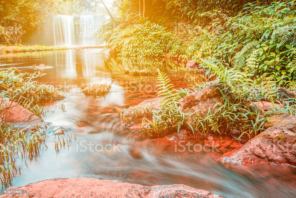 champeecave Waterfall in tropical country, Laos stock photo