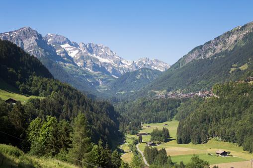 Champery seen from Val de Illiez (Switzerland)