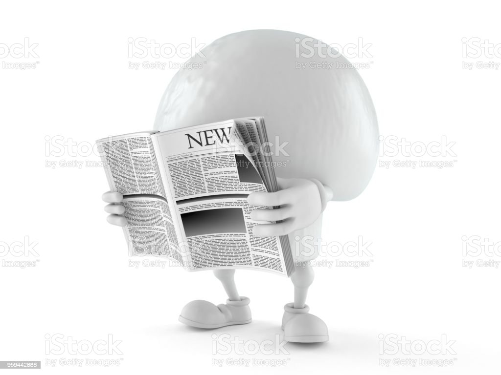 Champignon character reading newspaper stock photo