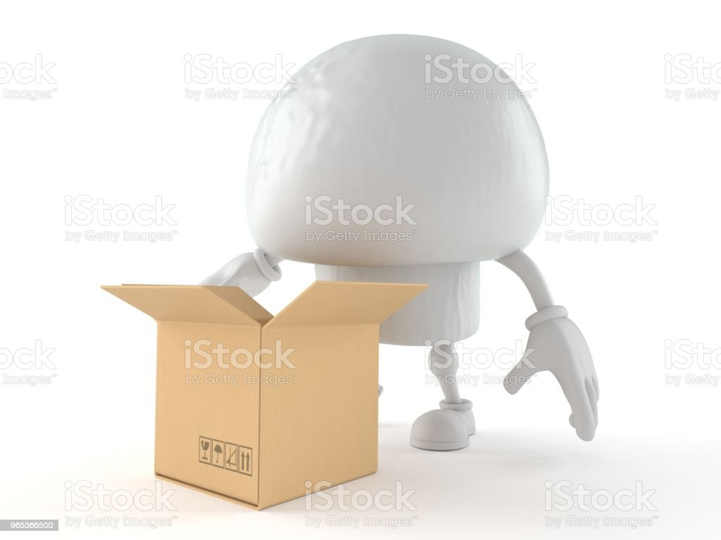 Champignon character with open cardboard box royalty-free stock photo