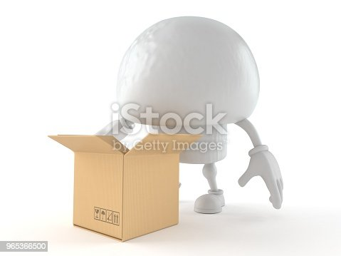 Champignon Character With Open Cardboard Box Stock Photo & More Pictures of Box - Container