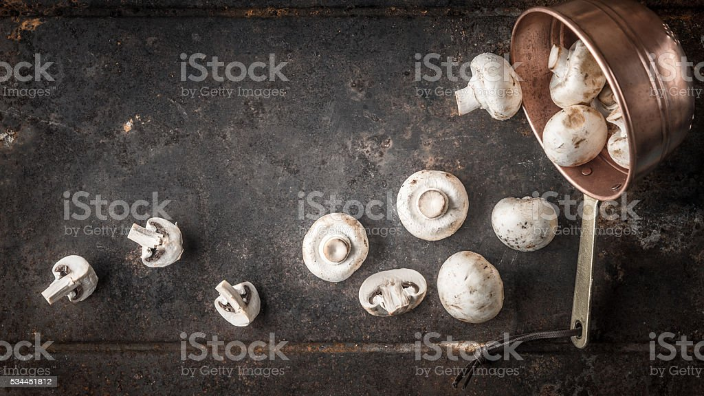 Champignon on the copper pot on metal background top view stock photo
