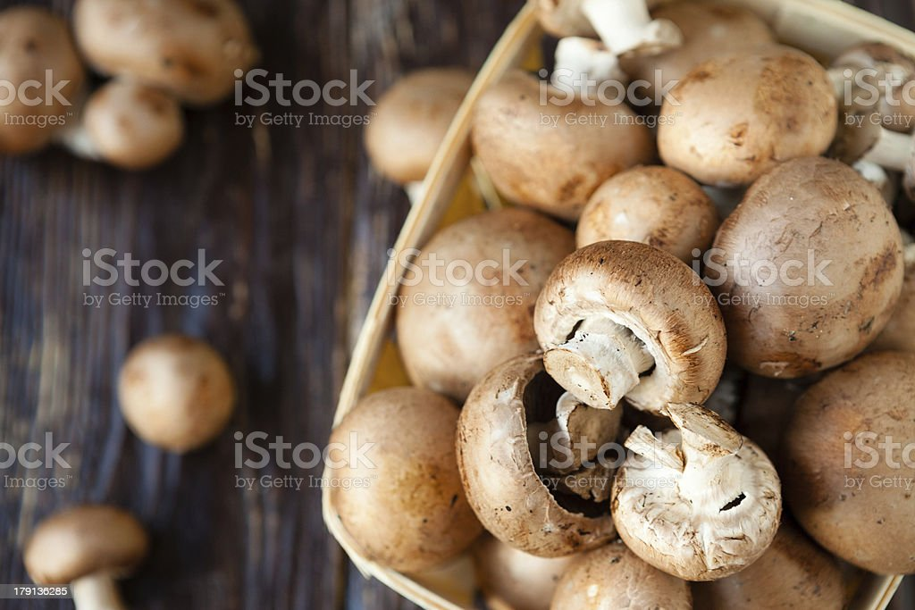 champignons in a basket on dark boards stock photo