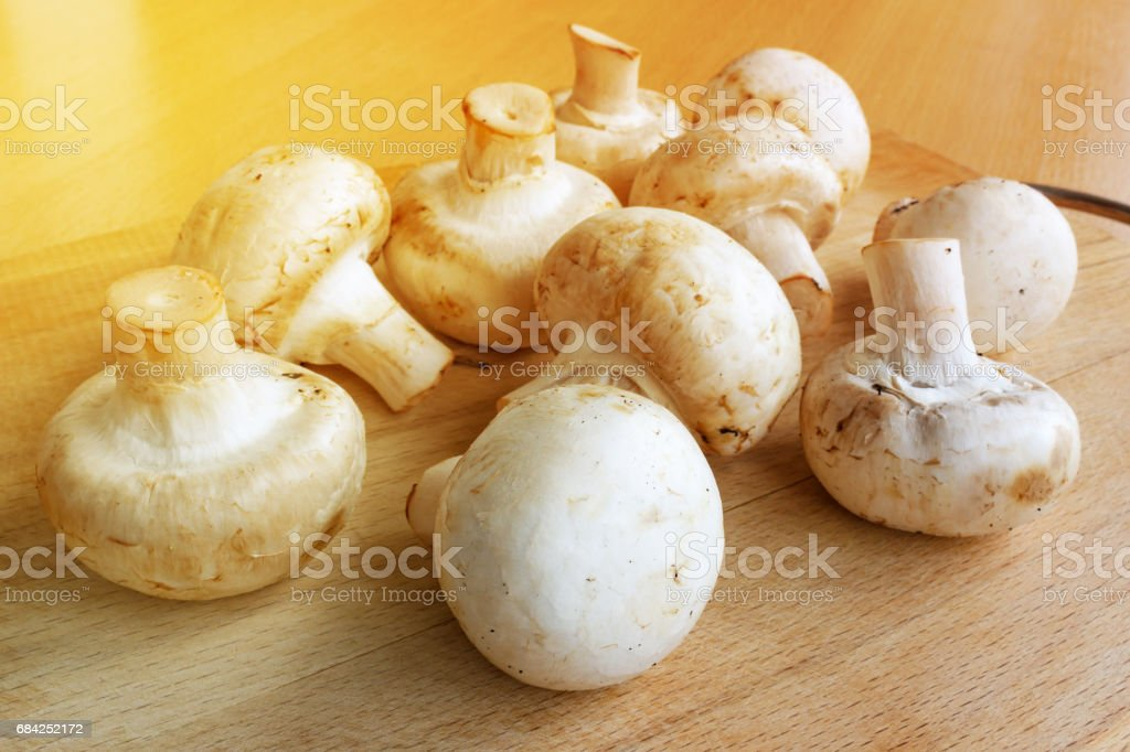 Champignons on a wooden cutting board in the sunlight royalty-free stock photo