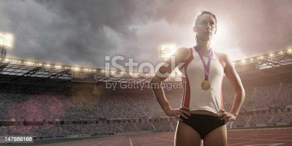 istock Champion Athlete Gold Medal Winner 147986168