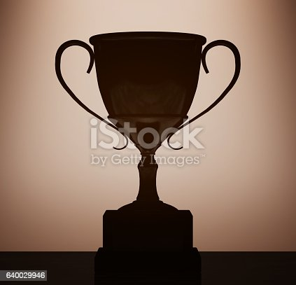 544347868 istock photo Champion Cup Trophy with backlight over Wall. 3d Rendering 640029946