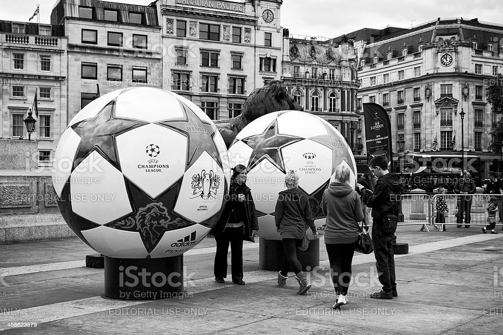 Champions League event in Trafalgar Square stock photo