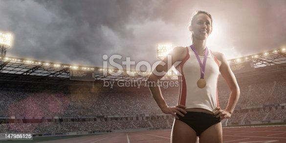 istock Championship Athlete Gold Medal Winner 147986125