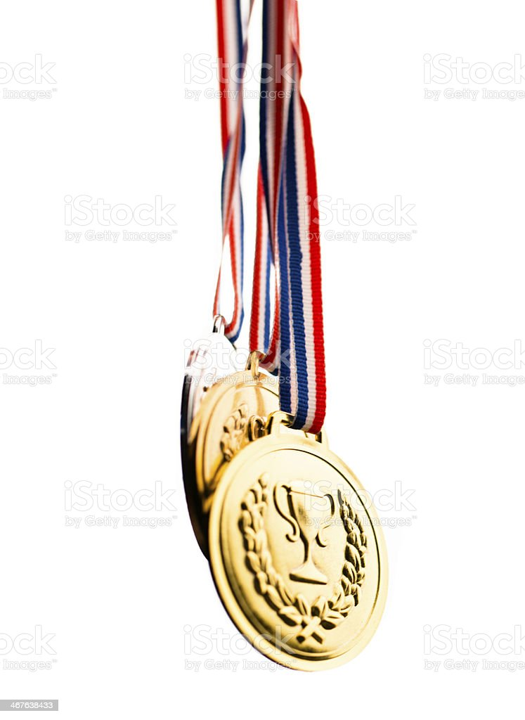 championship medals on white background stock photo