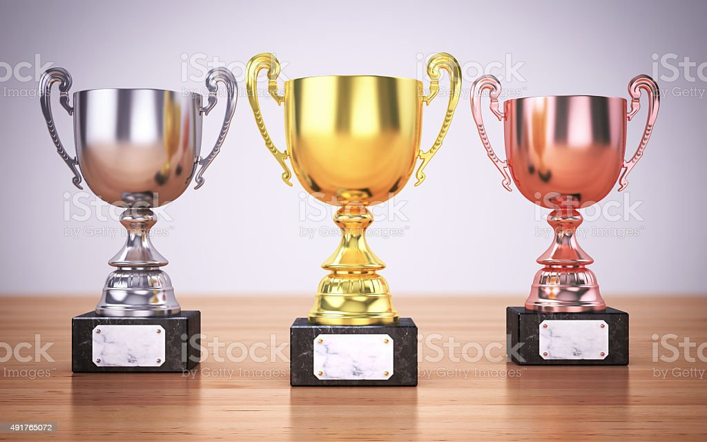 Championship Trophies stock photo