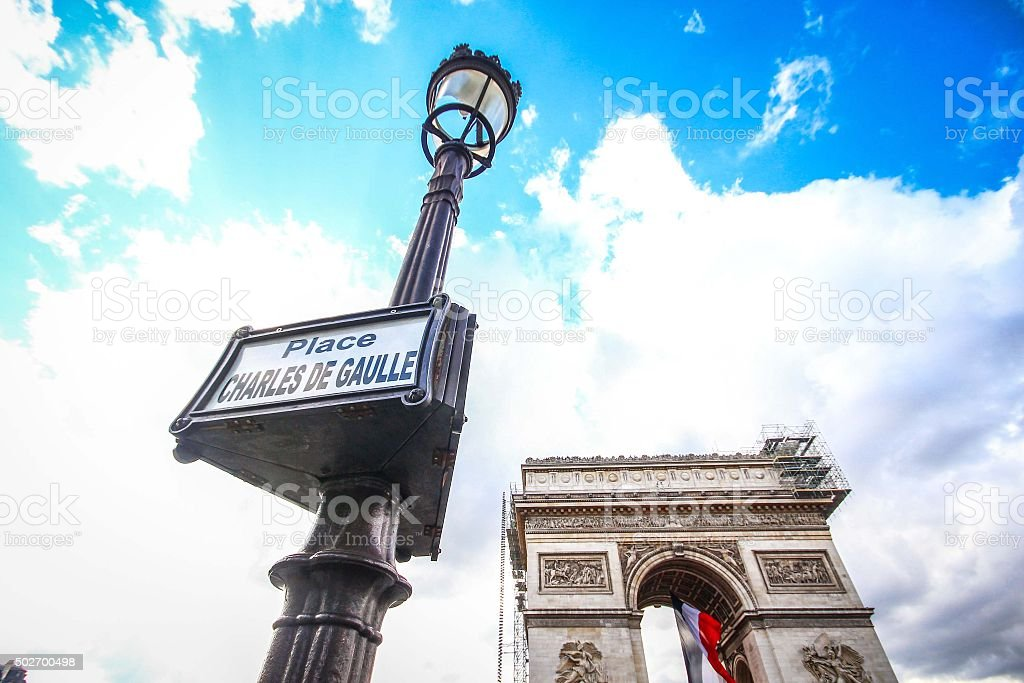 Champs Elysees avenue with Arc de Tromphe stock photo