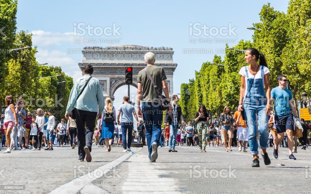 Champs Elysees on Foot stock photo