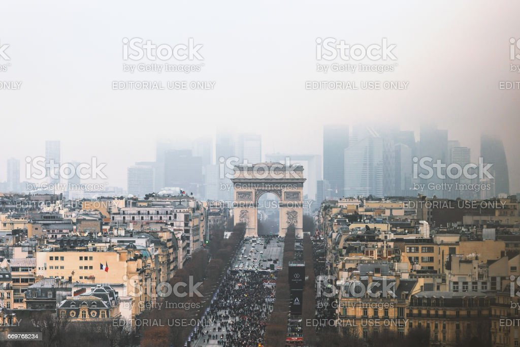 Champs Elysees triumphal arch stock photo
