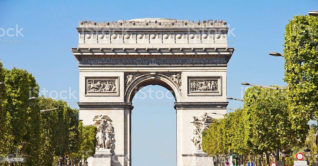 Champs-elysees and the Arc du Triomphe, Paris stock photo