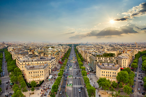 A view down the Champs-Elysees from the top of the arc de triomphe.