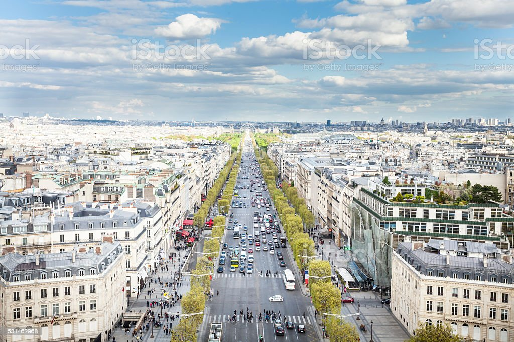 Champs-Élysées avenue, seen from the top of Arc de Triomphe stock photo