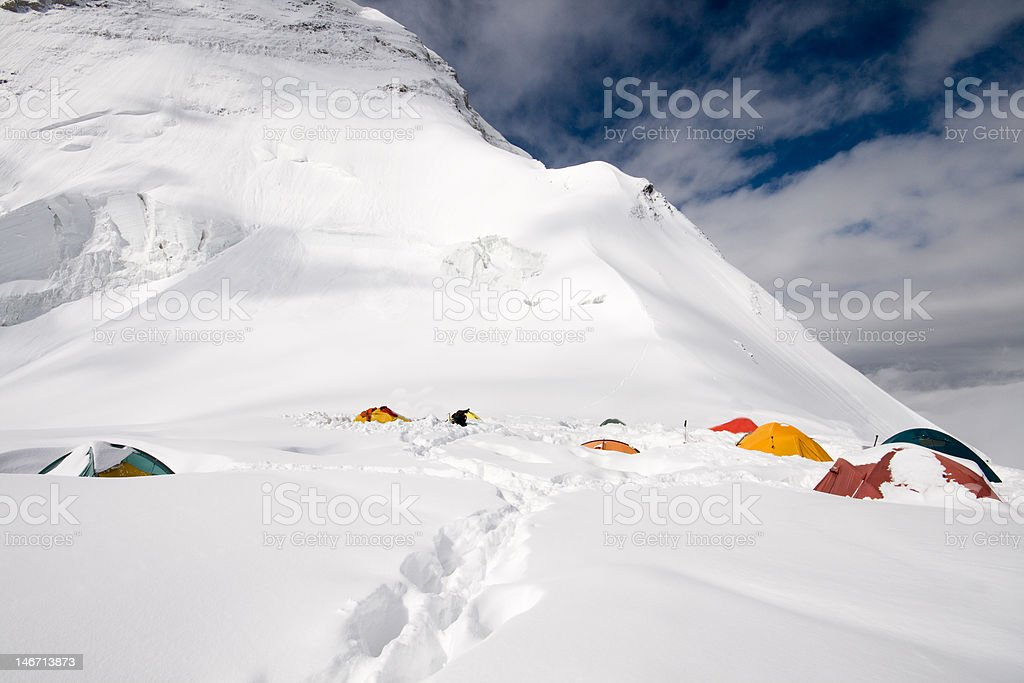 chan tengri tents in second camp stock photo
