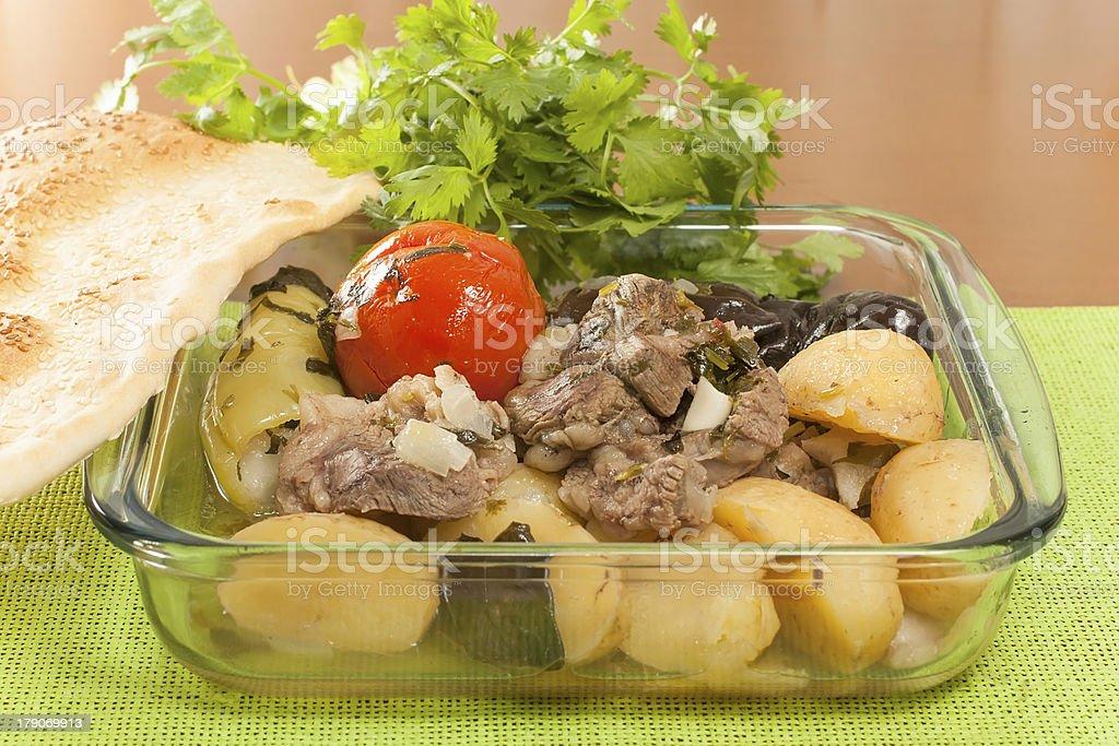 chanakhi - Georgian dish of lamb royalty-free stock photo