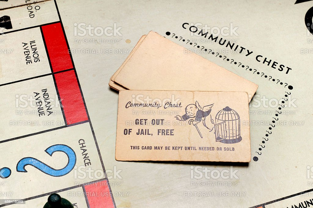 Chance and Community Chest from Classic Monopoly Game stock photo