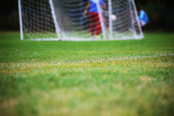 chance in front of goal - soccer competition stock photos and pictures
