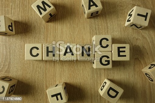 Chance or change word from wooden blocks on desk