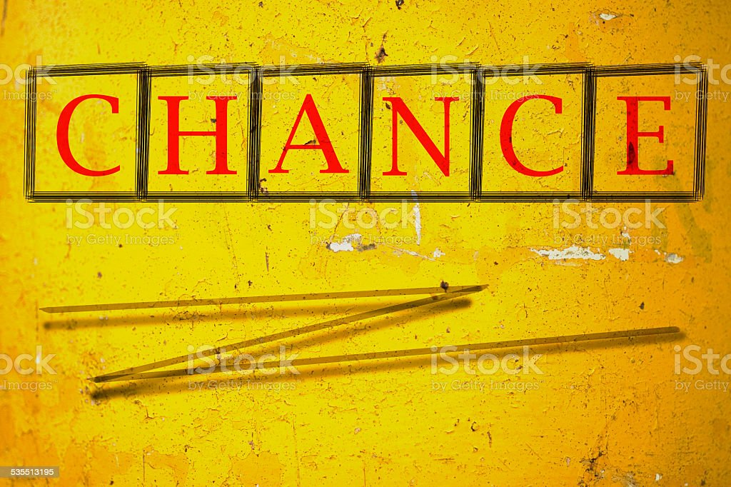 chance written on a wall background stock photo